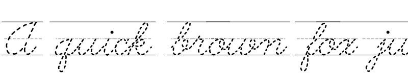 Preview of AbcCursiveDottedLined Regular